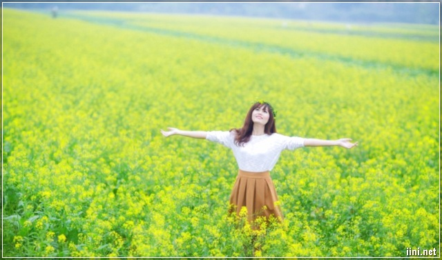 ảnh cô gái và vườn hoa cải
