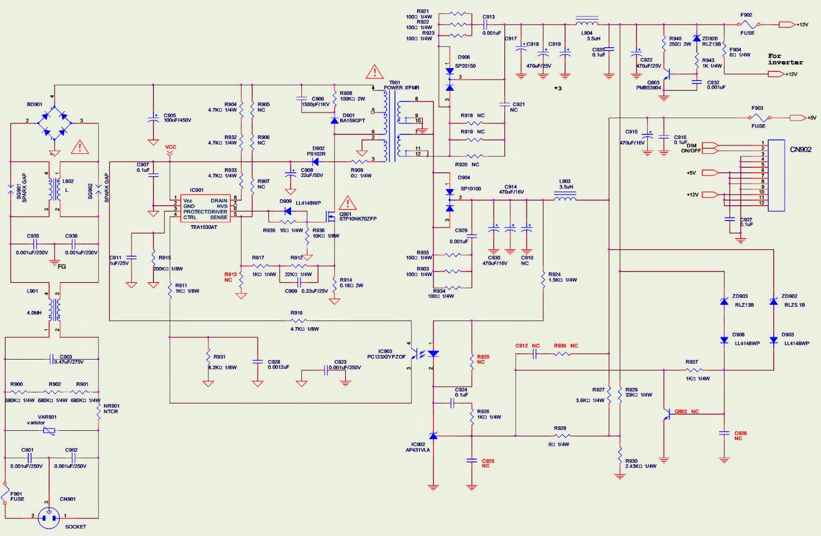 aoc 212va monitor power supply schematic circuit diagram troubleshooting [ 1600 x 1045 Pixel ]