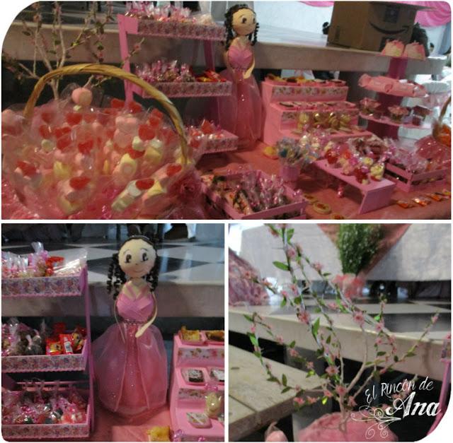 Fofucha quinceañera y mesa de dulces