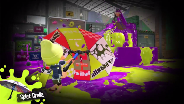 Splatoon 2 Splat Brella opened parasol umbrella block shots post release update DLC weapon