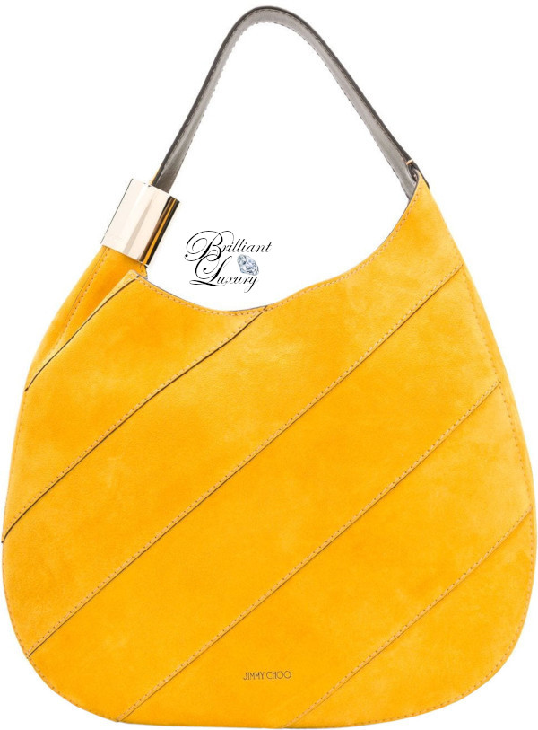 Brilliant Luxury♦Jimmy Choo Stevie saffron suede shoulder bag with stitching and elaphe in yellow