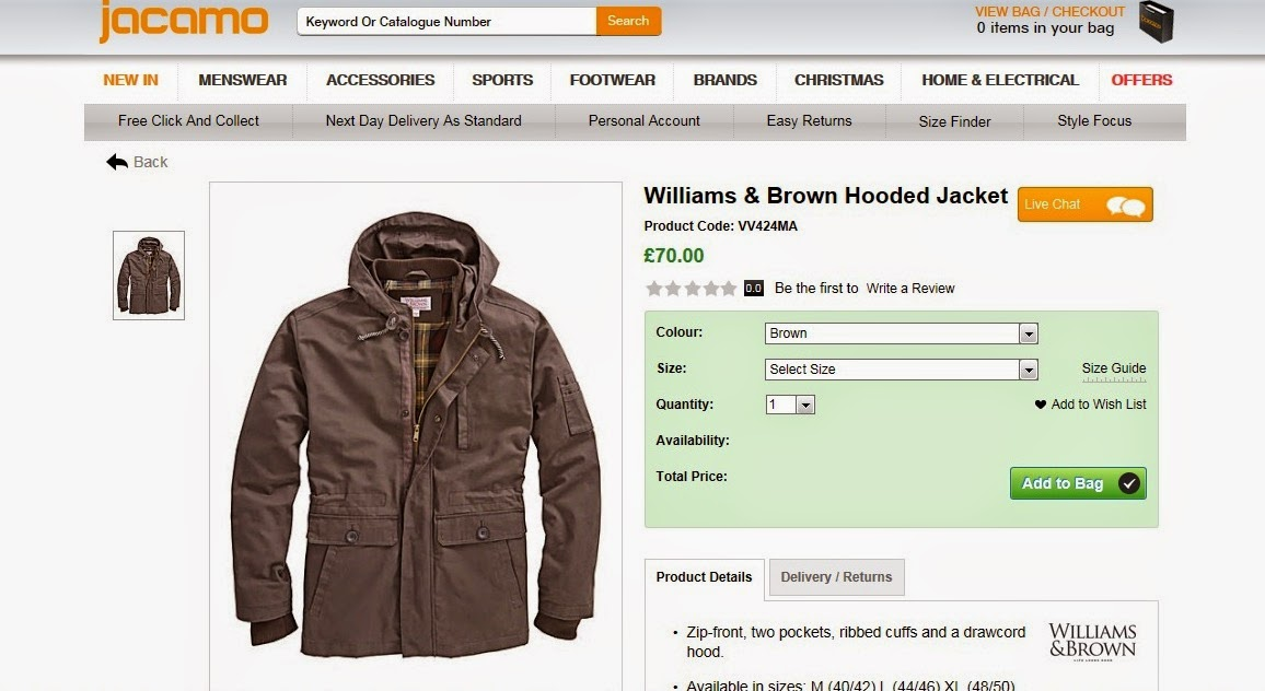 Williams and Brown Hooded Jacket from Jacamo