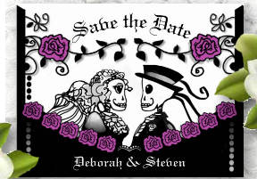 Halloween Save the Date Gothic Bride & Groom Skeletons and Roses PostCard