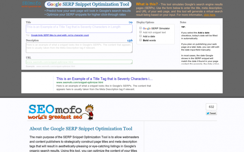 Google SERP Snippet Optimization Tool - Optimize your SERP snippets