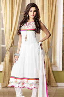 a lady in white color designer sleeveless anarkali salwar suit with churidar pajami