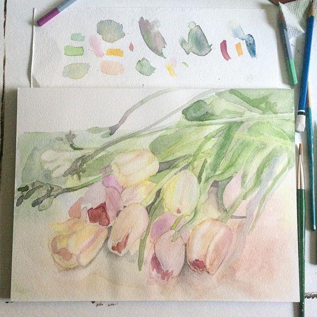 """""""Cascading Tulips"""", #wip- www.gildedbloom.com"""