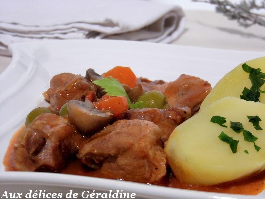 Aux d lices de g raldine saut porc en rago t recette facile - Saute de porc cocotte minute ...