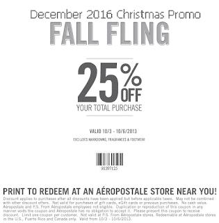 free Aeropostale coupons december 2016