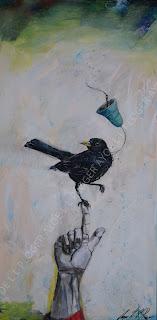 maleri,acryl,blackbird,glade farver,solsort,sig din mening,