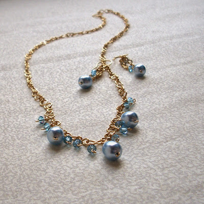 Blue Swarovski Crystal Necklace & Earring Set