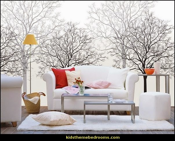 Tree Murals - tree wall decals - tree wall murals - Tree Wallpaper - tree wall stickers -  decorating with trees - tree wallpaper mural - Outdoor Bedroom decorating ideas - birch trees - forest trees wallpaper murals - tree props