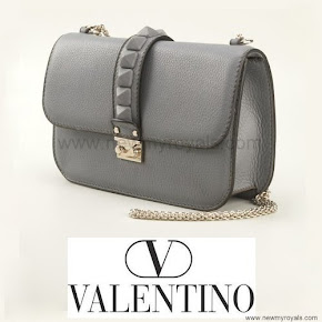 Crown Princess Victoria carried Valentino Gray Glam Lock Shoulder Bag