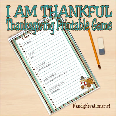 Enjoy a few moments to get the last minute dinner preparations done with this fun Thanksgiving printable game.  Give this printable to your kids with a pencil and you'll have a few minutes of peace while they challenge each other to be the most grateful this Thanksgiving.