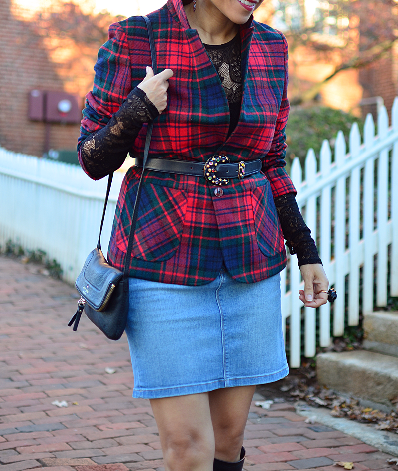 Lace with plaid street style