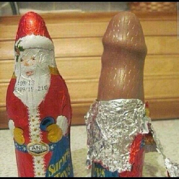 cheap father christmas chocolate figurine penis willy shape funny product fail