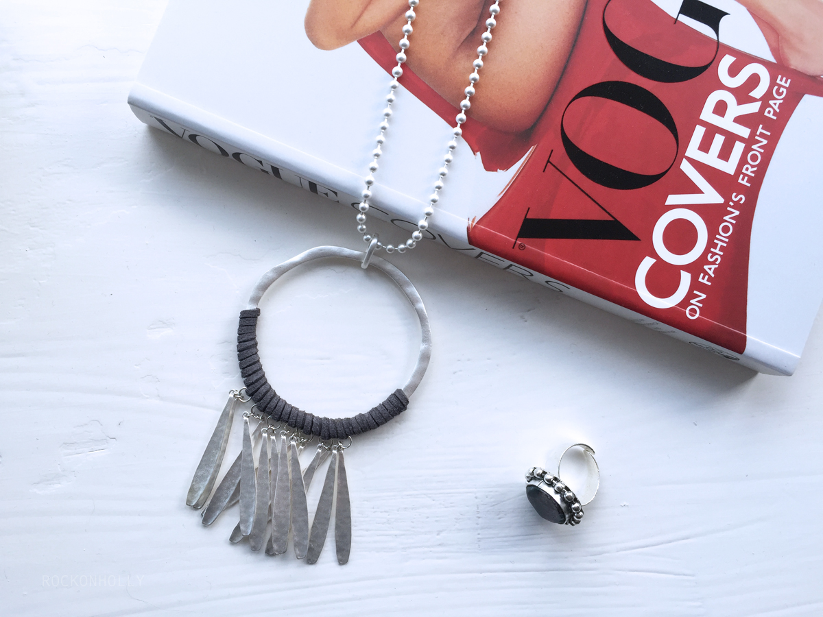 Matte Silver Necklace from Her Curiosity on the Rock On Holly Blog