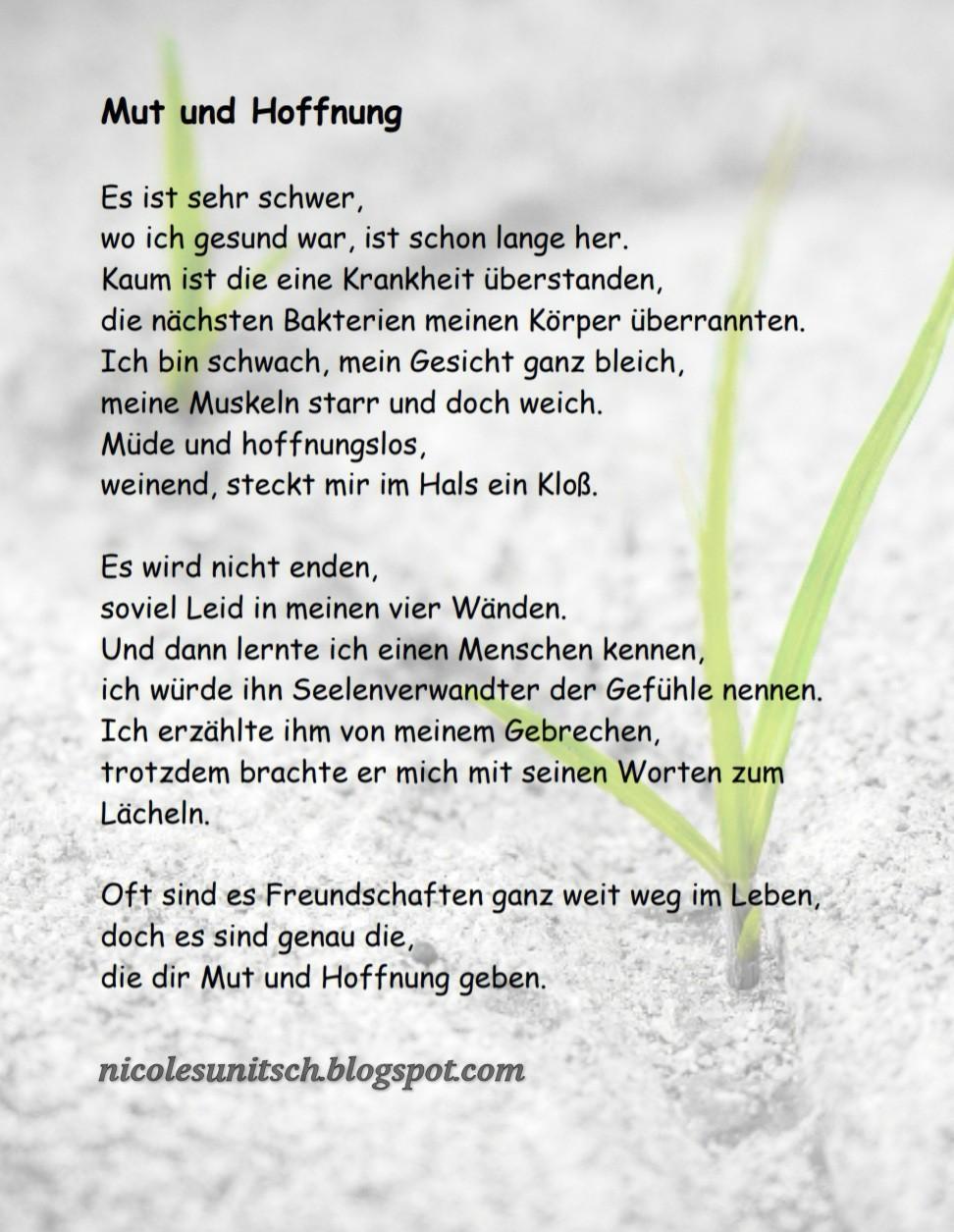 Gedichte Von Nicole Sunitsch Autorin Mut Und Hoffnung