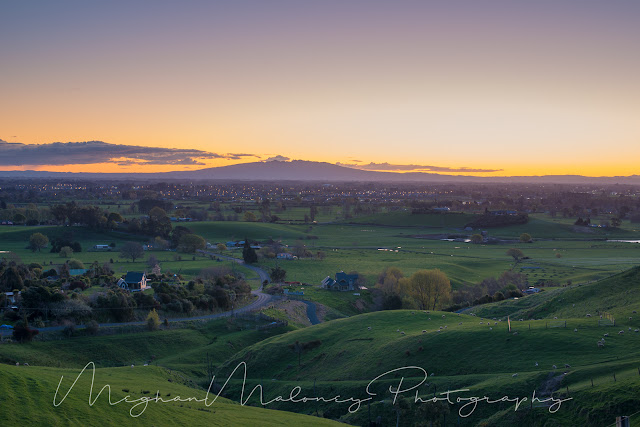pirongia after sunset from Maungakawa