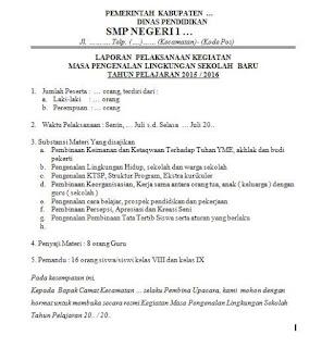 laporan singkat panitia (ketua pelaksana) mpls dalam upacara pembukaan