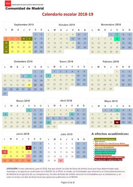 Calendario Escolar 2019 Madrid.Mareaverde Calendario Escolar 2018 19 Aprobado Por La Consejeria De