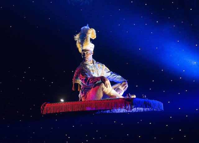 Aladdin on his magic carpet, Theatre Royal, Nottingham
