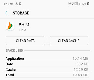 Clear BHIM app cache and data