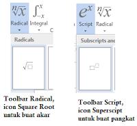 icon untuk membuat akar dan pangkat