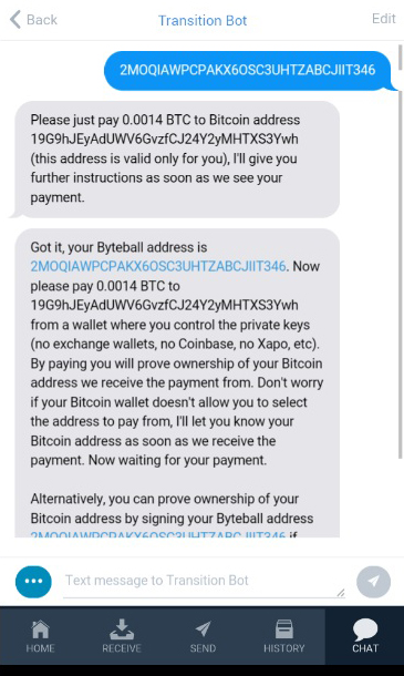 How to link bitcoin address for participating byteball free first picture shows that you have to do make a micro transaction to the bitcoin address provided by bot please pay the exact amount from ccuart Choice Image