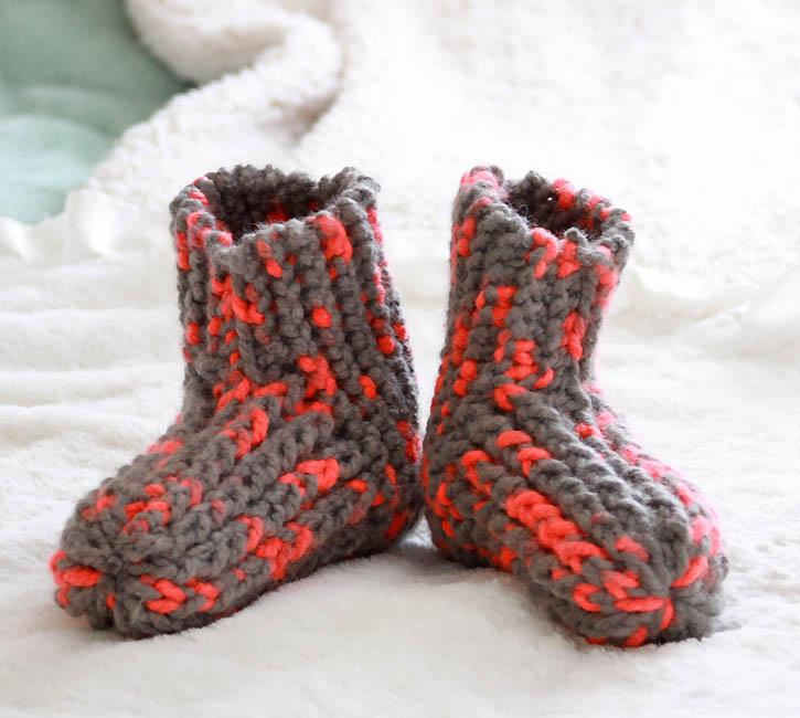 Knitting Shoes Patterns : Snow day slippers knitting pattern gina michele