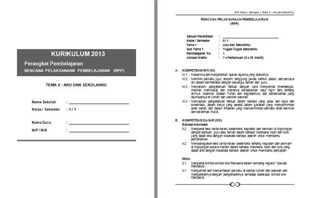 RPP SD MI Kurikulum 2013 Kelas 1 2 3 4 5 6 Format Microsoft Word