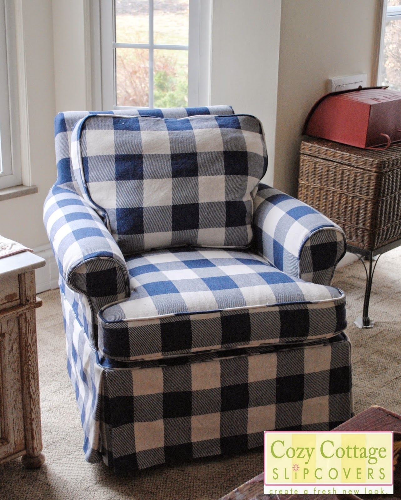 pale blue chair covers fold up chairs argos cozy cottage slipcovers and white buffalo check