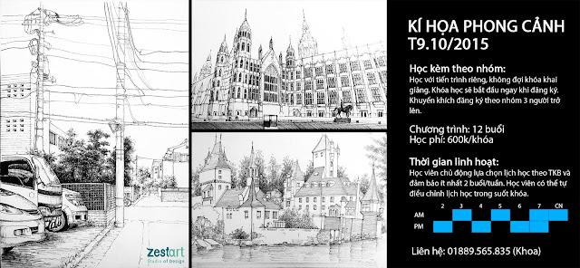 diễn họa kiến trúc, kí họa phong cảnh tại Zest Art tphcm