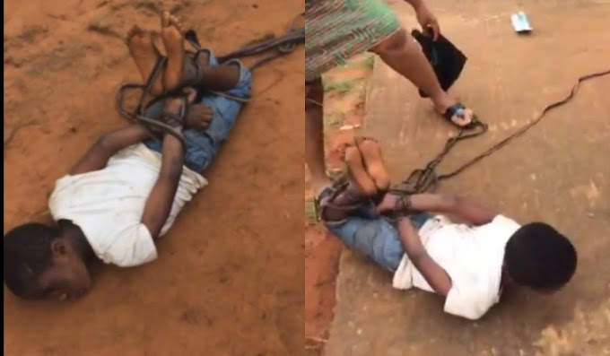 Shocking Video: Mother Ties up daughter like an Animal for not Sweeping the house (Video)