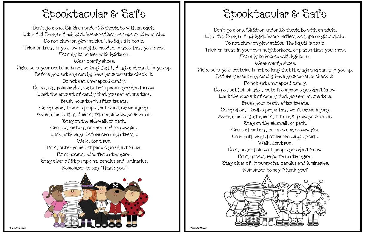 Trick or Treat Safety Tips Coloring Page - Classroom Freebies