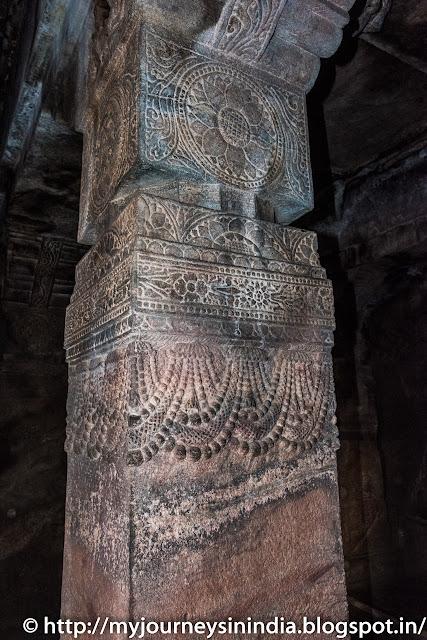 Badami Cave Temple Ornate Pillars