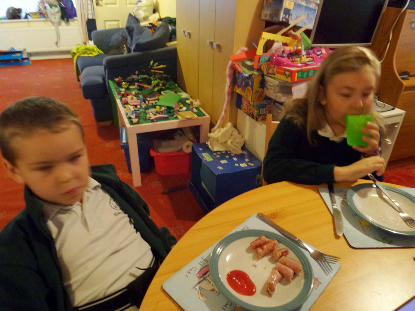 The children eating breakfast (sorry it's blurry!)