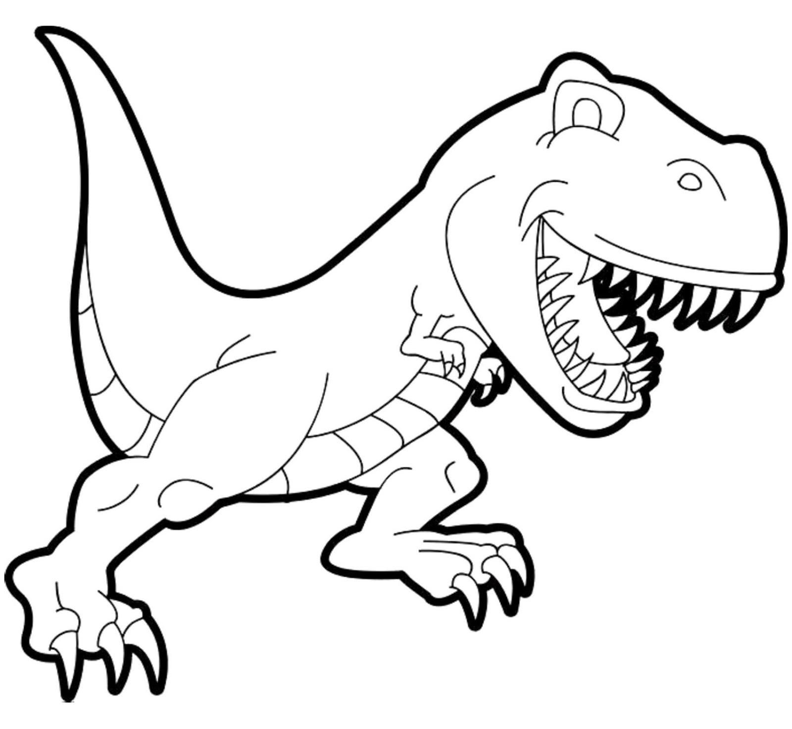 Tranh tô màu khủng long ăn thịt cute