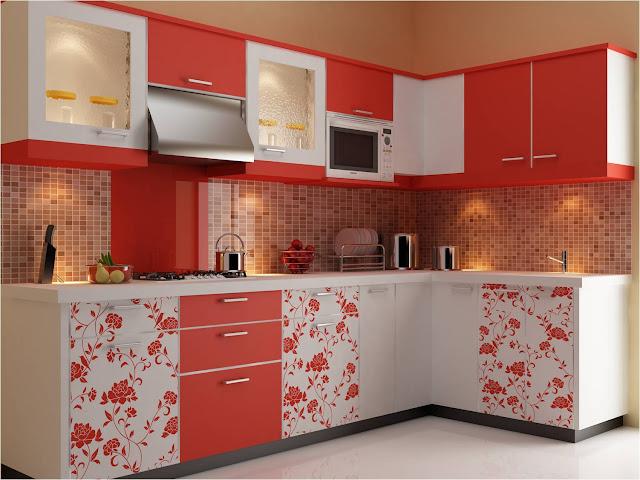desain dapur warna pink