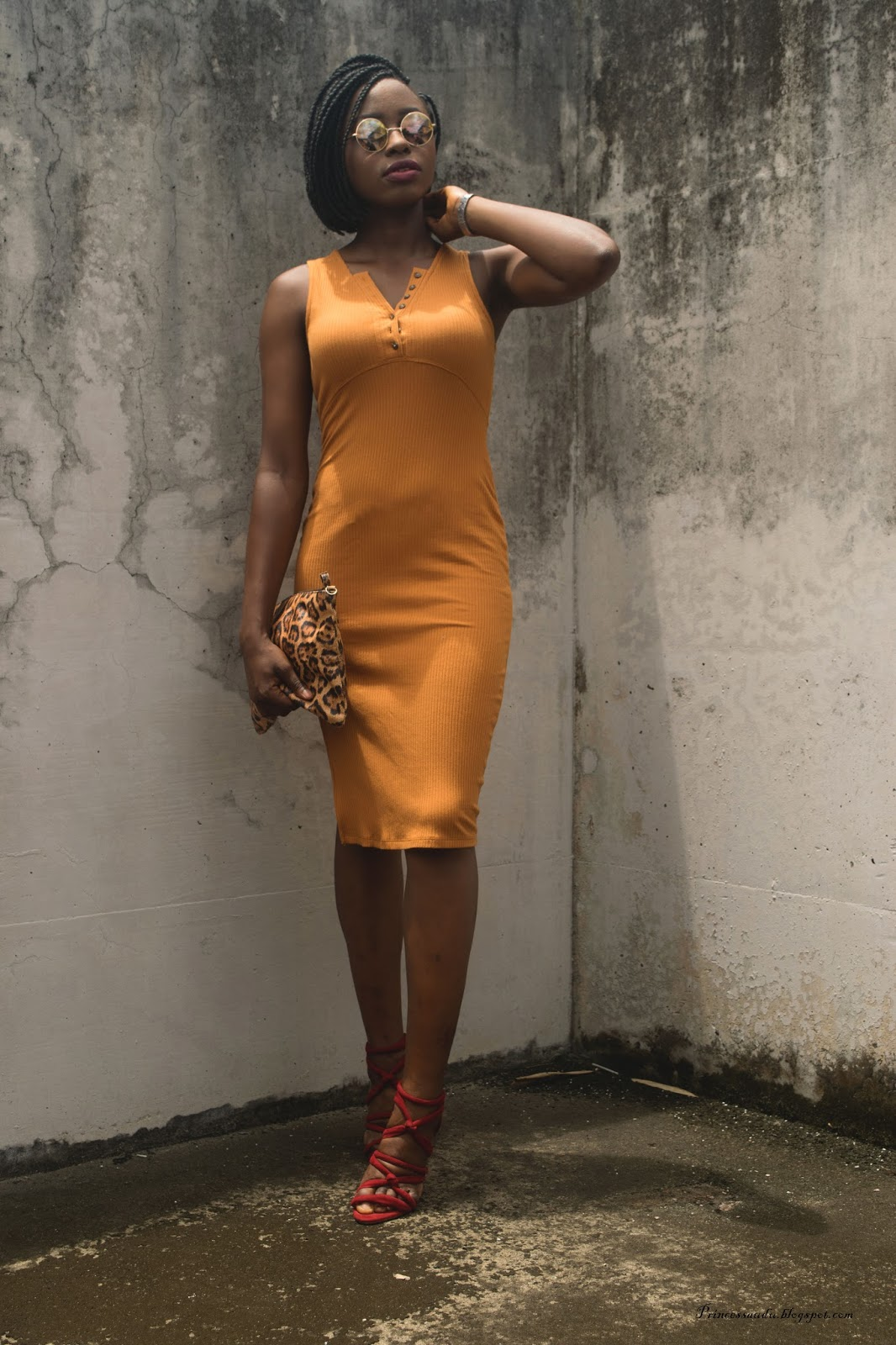 Mustard pencil dress,  body con dress, side slit,  Jersey dress,  colour blocking