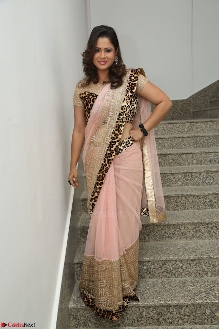 Shilpa Chakravarthy in Lovely Designer Pink Saree with Cat Print Pallu 008.JPG