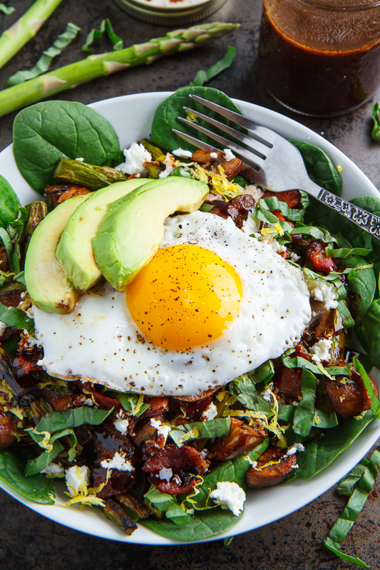 Roast Asparagus and Mushroom Chicken Spinach Salad with Bacon, Avocado and Goat Cheese