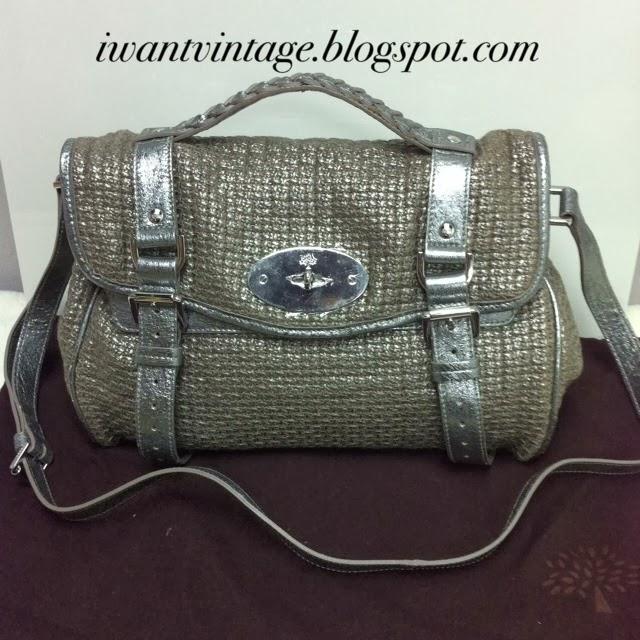 70787dec85ca Mulberry Alexa Metallic Silver Woven Bag