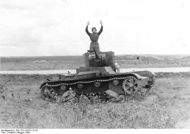 Soviet T-26B surrenders, 24 August 1941 worldwartwo.filminspector.com