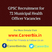 GPSC Recruitment for 72 Municipal Health Officer Vacancies