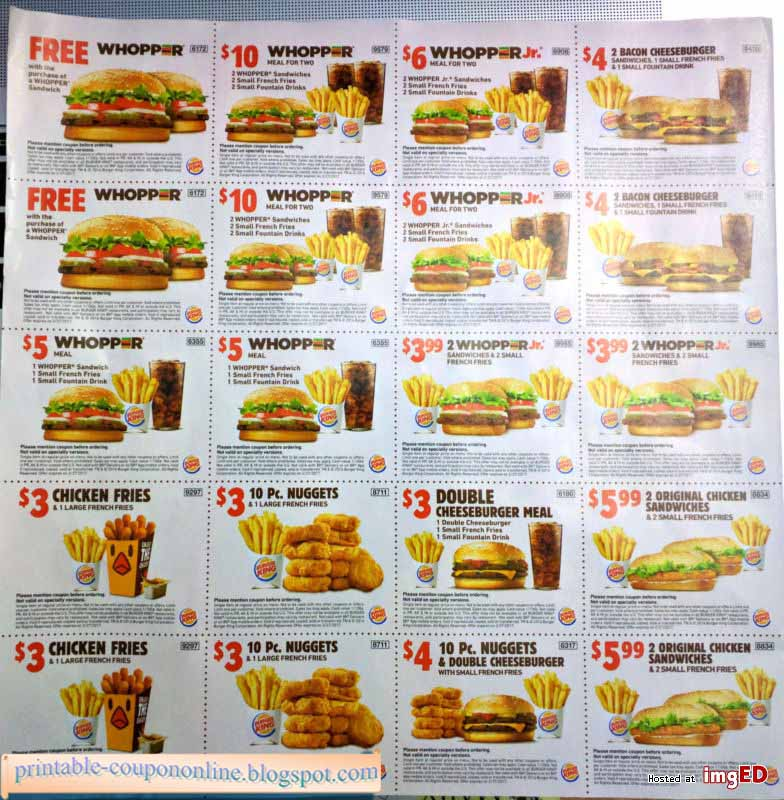 Burgerking com coupons