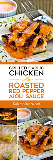 Grilled Garlic Chicken with Roasted Red Pepper Aioli Sauce found on KalynsKitchen.com