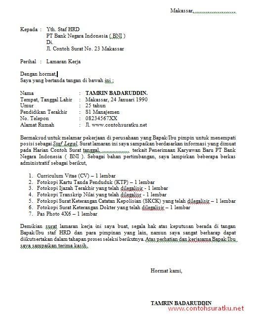 Contoh Surat Lamaran Kerja Untuk Bank BNI yang Baik dan Benar File Word