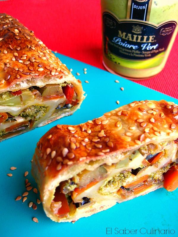 rollo de pan vegetariano con mostaza a la pimienta verde Maille