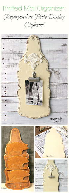 Pig Mail Organized Repurposed As Photo Clipboard Display #upcycle #repurpose #photodisplayideas