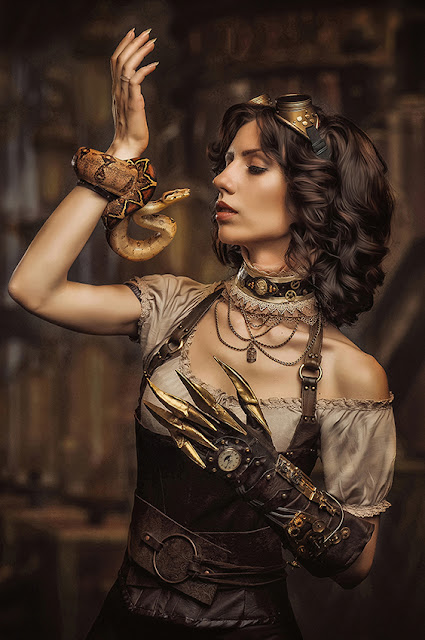 steampunk womens clothing choker blouse corset snake and mechanical hand gloves
